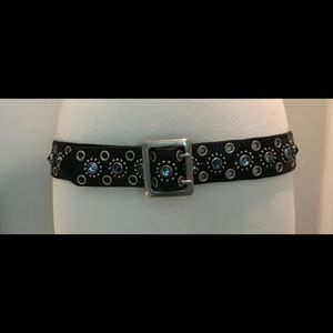 Accessories - Buckle style black belt with blue topaz jewels.